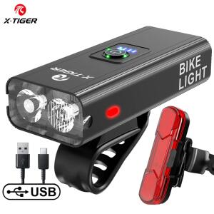 X-TIGER Farol para bicicleta à prova de chuva carregamento USB, LED 1200 Lumens Modelo QD-0101T | R$55