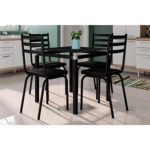 Conjunto de Mesa de Cozinha com 4 Lugares Malva II Courvin Preto | R$ 754