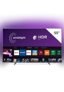 "Smart TV Led 55"" Philips Amblight 4K Ultra HD HDR 10+ Dolby Atmos Dolby Vision Prata | R$2223"