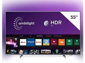 "Smart TV Philips 55PUG6794/78 55"" 4K UHD AMBILIGHT 3 lados HDR10+ Dolby Vision Dolby Atmos Bluetooth Wifi 3 HDMI 2 USB - Prata R$2.599"