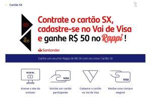 Cadastre seu novo Cartão SX no Vai de Visa e ganhe um voucher Rappi de R$ 50!