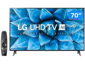 "Smart TV UHD 4K LED 70"" LG Wi-Fi - Bluetooth HDR Inteligência Artificial 3 HDMI 2 USB | R$4274"