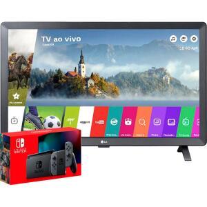 "Console Nintendo Switch 32gb + Gray Joy-Com + Smart TV LED LG 24"" Monitor Webos 3.5 DTV | R$2999"