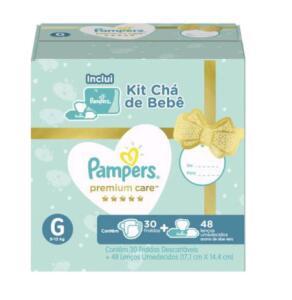 4 Kits Chá de bebê Pampers Premium Care G | R$117