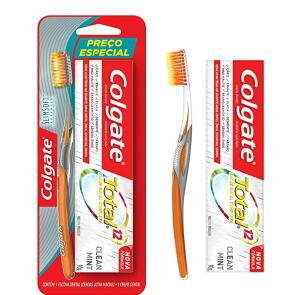 Escova Dental Colgate Slim Soft Advanced + Creme Dental Colgate Total 12( recorrência)   R$8
