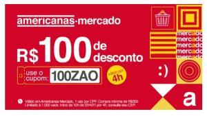 [Americanas] R$100 de desconto na categoria MERCADO