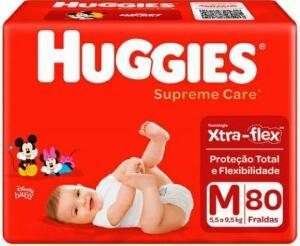 2 Pacotes de Fralda Huggies Supreme Care M 80 Unidades   R$82