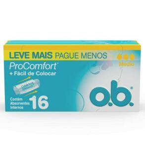 (recorrência) Absorvente Interno Médio Pro Comfort, O.B., 16 Unidades   R$9