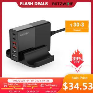 (NOVOS USUÁRIOS) Carregador universal BlitzWolf BW-S16 75W Dual 6 Portas USB PD | 148,58