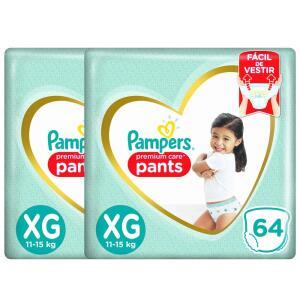 Fralda Pampers Pants Premium Care XG - 128 Unidades | R$156