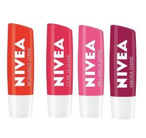 Nivea Protetor Labial Shine Kit Morango + Cereja + Amora + Melancia | R$39