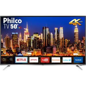 """Smart TV Philco 50"""" Led PTV50F60SN 4K com Conversor Digital Integrado Wi-Fi 2 HDMI 2 USB Netflix R$1823"""
