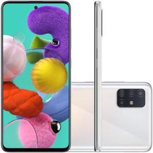 Smartphone Samsung Galaxy A51, 128GB, 4GB de RAM, 48MP, Tela 6.5´, Branco   R$1619