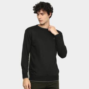 Suéter Tricô Lucky Sailing Liso Masculino - Preto | R$60