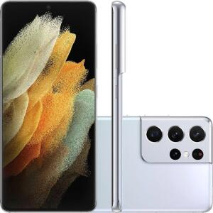 "Smartphone Samsung Galaxy S21Ultra 5G Prata 256GB, 12GB RAM, Tela Infinita de 6.8"" | R$4849"