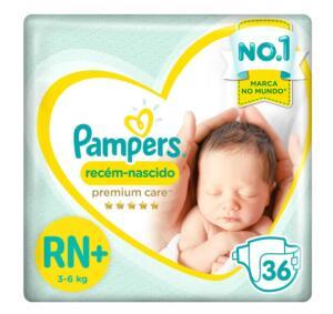 Fraldas Pampers Premium Care Recém Nascido RN+ 36 Unidades | R$30