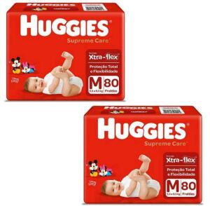 2 Pacotes de Fralda Huggies Supreme Care M 80 Unidades | R$ 80