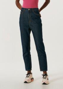 Calça Feminina Mom Em Jeans De Algodão Com Bolsos - Azul Escuro | R$40