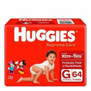 (50% OFF na 2ª unid + cupom) Fralda Huggies Supreme Care G 64 Unidades