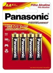Pilha Alcalina Pequena AA com 4, Panasonic | 2 unidades | R$12 cada