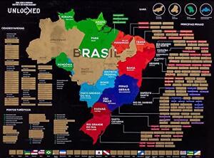 Mapa do Brasil de Raspar 82x60 CM | Unlocked | Sem moldura | R$127
