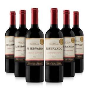 Kit com 6 Vinhos Tinto Seco Cabernet Sauvignon Reservado 750ml - Concha Y Toro | R$169