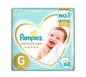 [App/Compre 3 Pague 2] Fralda Pampers Premium Care G - 9 a 13kg - 68un R$59