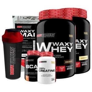 Kit 2x Waxy Whey 900g + BCAA 4,5 100g + Creatine 100g + Waxy Maize 800g + Coquet 600ML | R$99