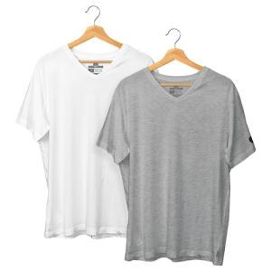Kit com 2 Camisetas Gola V Basic Regular Branca e Mescla - Polo Match R$87