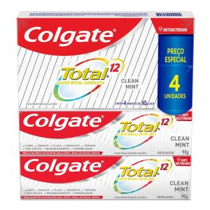 [Leve 4 Pague 3 R$3,41 Cada] Creme Dental Colgate Total 12 Clean Mint 90g R$14