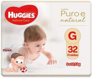 Fralda Huggies Natural Care G 32 unidades R$26