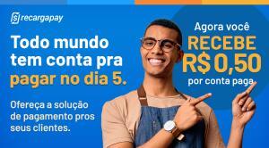 Ganhe R$ 0,50 de cashback por conta paga no RecargaPay