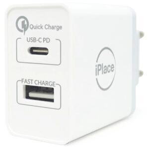 2 unidades | Carregador de Parede iPlace, USB 2.4 / USB-C, Branco | R$207