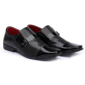 Sapato Social HShoes Verniz Bico Quadrado Liso Moderno Masculino - Preto | R$40