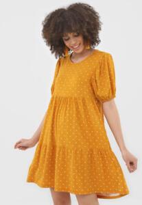 Vestido Curto Manga Bufante Amarelo FiveBlu - Feminino R$45