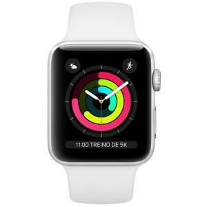 Apple Watch Series 3, 38 mm, Alumínio Prata, Pulseira Esportiva Branca e Fecho Clássico   R$1499