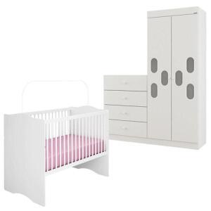 Quarto de Bebê Meu Bebê 2 Portas com Berço Alegria Branco Brilho – Canaã R$768