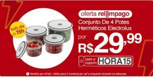 [APP] Conjunto de Potes Herméticos Electrolux - 4 unidades | R$30