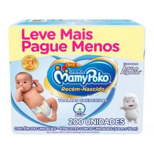 Toalha Umedecida MamyPoko Recém-Nascido - 200 Unidades | R$19