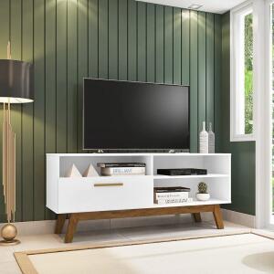 Rack para TV até 55 Polegadas Madeira Retrô Paládio Móveis Bechara Branco | R$234