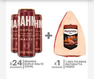 Kit 24 Brahmas Duplo Malte lata 350 ml + 1,4kg Picanha Maturatta Friboi | R$115