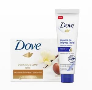 Kit Dove Sabonete Karité e Baunilha 90g + Espuma de Limpeza Facial 15g | R$2,53