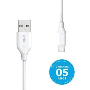Cabo Micro USB, Anker Powerline, 1.8 metros, 5x mais resistente, Branco | R$30