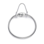 Pulseira Life com corrente de segurança em prata (fecho peixe) - 17cm por R$ 100