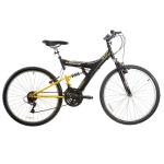Bicicleta Track Bikes Aro 26 - 18 Marchas TB 100 X Mountain Bike Preta e Amarela