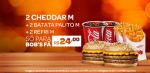 2 CHEDDAR M + 2 BATATA PALITO M + 2 REFRI M POR R$24,00