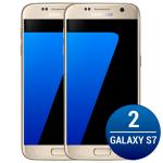 "Kit com 02 Smartphone Galaxy S7 Dourado, Tela 5.1"", 4G+WiFi+NFC, Android 6.0, 12MP, 32GB - Samsung | R$ 3768"