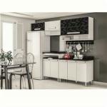 Cozinha Bartira Carla com 8 Portas - Branca/Preta Mescla
