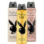 Kit com 3 Desodorantes Playboy Play It Sexy + Play It Lovely + Vip Aerosol Feminino 150ml - R$9